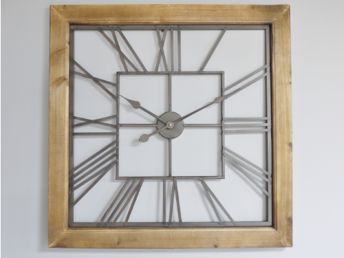 Large Square Wood Framed Clock